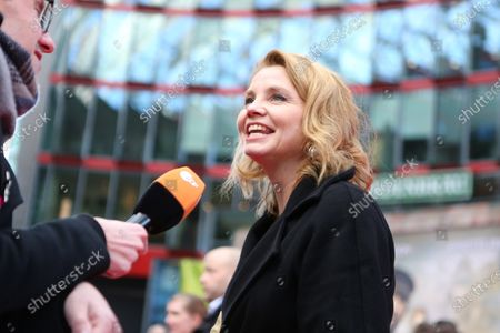 """Stock Image of Berlin: The world premiere of """"Jim Knopf and Luke the locomotive driver"""" in front of the Sony Center on Potsdamer Platz. The photo shows the actor Annette Frier on the red carpet."""