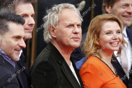 """Stock Picture of Berlin: The world premiere of """"Jim Knopf and Luke the locomotive driver"""" in front of the Sony Center on Potsdamer Platz. The photo shows the actor Annette Frier, Henning Baum, Uwe Ochsenknecht on the red carpet."""