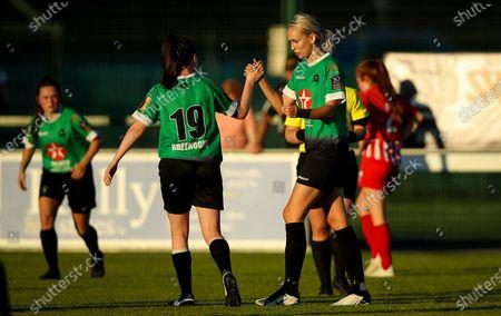 Peamount United vs Treaty United. Peamount's Stephanie Roche celebrates scoring a goal with Sadhbh Doyle