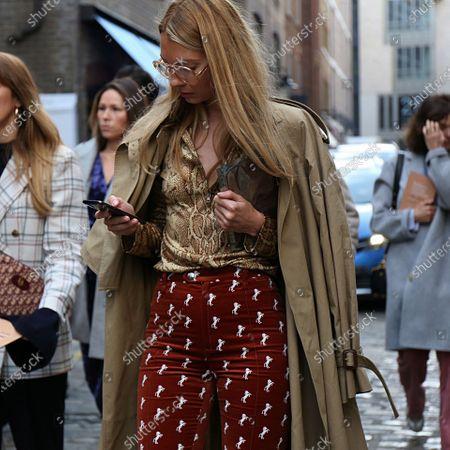 Roberta Benteler on the street during the London Fashion Week