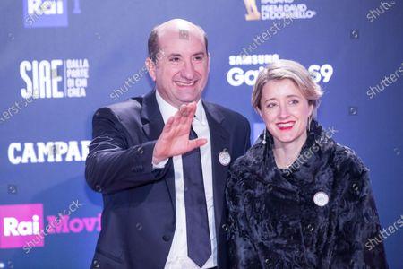 Antonio Albanese with his wife  Red Carpet for the David di Donatello 2018 ceremony at the Studios in Rome