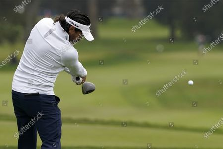 Mike Lorenzo-Vera, of France, hits his tee shot on the second hole during the third round of the PGA Championship golf tournament at TPC Harding Park, in San Francisco