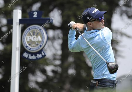 Kevin Streelman of the US hits his tee shot on the second hole during the third round of the 2020 PGA Championship golf tournament at TPC Harding Park in San Francisco, California, USA, 08 August 2020. The competition will be played 06 August through 09 August with no fans in attendance.
