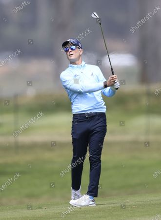 Kevin Streelman of the US hits from the fairway on the first hole during the third round of the 2020 PGA Championship golf tournament at TPC Harding Park in San Francisco, California, USA, 08 August 2020. The competition will be played 06 August through 09 August with no fans in attendance.