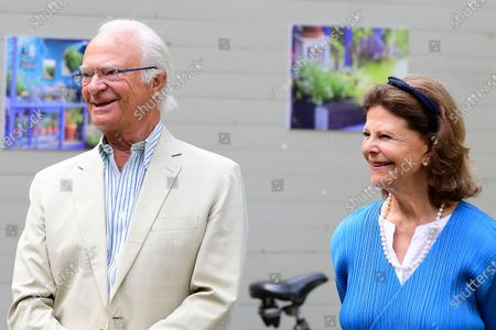 "Stock Picture of King Carl Gustaf and Queen Silvia present the various prizes for best ""Idea Gardens"" 2020 at Solliden Palace park"