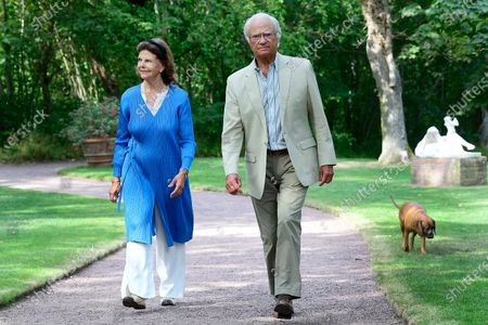 "Stock Photo of King Carl Gustaf and Queen Silvia present the various prizes for best ""Idea Gardens"" 2020 at Solliden Palace park"