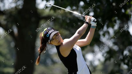 Jenny Shin of South Korea follows through on her tee shot on the second hole during the third round of the Marathon Classic LPGA golf tournament, at the Highland Meadows Golf Club in Sylvania, Ohio