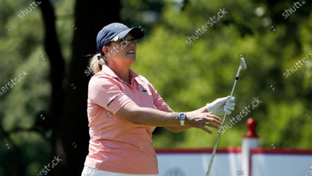 Cristie Kerr watches her tee shot on the second hole during the third round of the Marathon Classic LPGA golf tournament, at the Highland Meadows Golf Club in Sylvania, Ohio