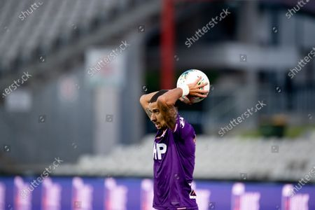 Stock Photo of Perth Glory defender James Meredith (8) throws the ball in