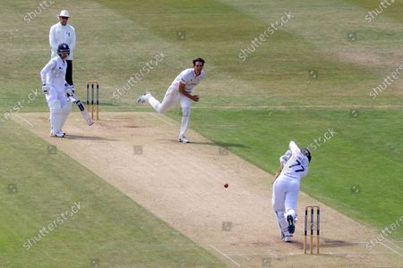 Stock Image of Wayne Madsen drives Chris Wright for 4 during the Bob Willis Trophy match between Leicestershire County Cricket Club and Derbyshire County Cricket Club at the Fischer County Ground, Grace Road, Leicester