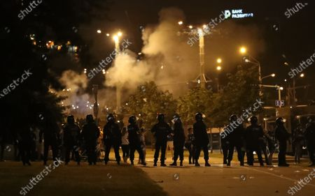 Riot police block a street during a protest after polling stations closed at the presidential elections in Minsk, Belarus, 09 August 2020. Five candidates are contesting for the presidential seat, including the incumbent president Lukashenko.
