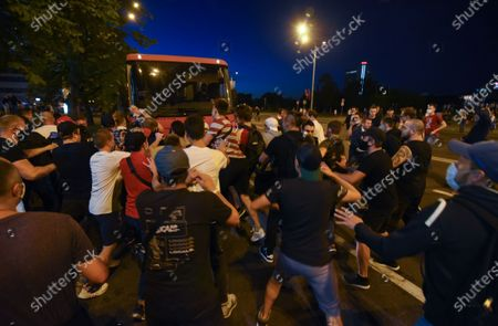 Protesters attack a bus with police officers during a protest after polling stations closed in the presidential elections in Minsk, Belarus, 09 August 2020. Five candidates are contesting for the presidential seat, including Alexander Lukashenko, the incumbent President of Belarus.