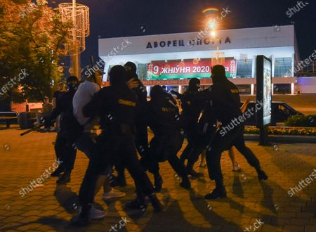 Police officers detain demonstrators during a protest after polling stations closed in the presidential elections in Minsk, Belarus, 09 August 2020. Five candidates are contesting for the presidential seat, including Alexander Lukashenko, the incumbent President of Belarus.