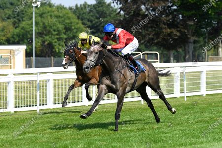 Winner of The AJN Steelstock Steel Processors British EBF Fillies' Handicap  Indie Angel ridden by Robert Havlin and trained by John Gosden during Horse Racing at Salisbury Racecourse on 9th August 2020