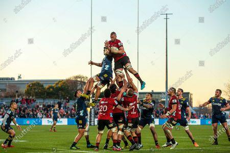 Stock Photo of Crusaders vs Highlanders. Crusaders' Luke Romano wins a line out