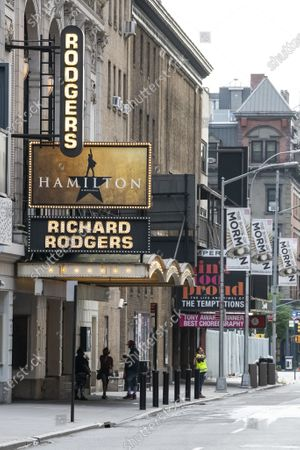 An overall view of The Richard Rogers Theatre which features Hamilton sits dark on Broadway in Manhattan, New York. Mandatory credit: Kostas Lymperopoulos/CSM