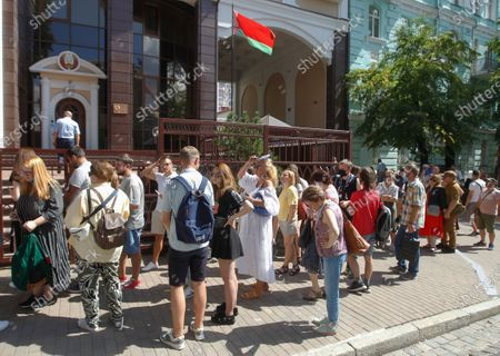 Belarusians, who live in Ukraine wait to vote near the polling station organized in the Belarusian embassy during presidential elections in Kiev, Ukraine, 09 August 2020. Five candidates are contesting for the presidential seat, including Alexander Lukashenko, the incumbent President of Belarus.
