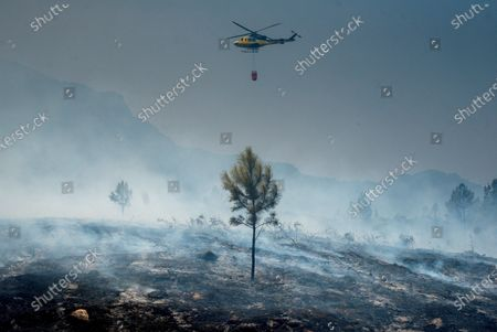 A general view of an area ravaged by a forest fire in Peneda-Geres Natural Park, at the Portuguese Spanish border, northern Spain, 09 August 2020, near the site of a Canadair CL215 plane wreckage that was participating in firefighting operations at the national park. The plane crashed in an accident near the Alto do Lindoso Dam, following a water tank refuelling in Spanish territory, causing the death of the Portuguese pilot and serious injuries to the Spanish pilot.