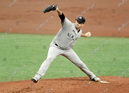 New York Yankees starter James Paxton pitches against the Tampa Bay Rays during the first inning of a baseball game, in St. Petersburg, Fla