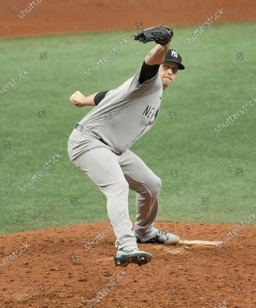 New York Yankees starter James Paxton pitches against the Tampa Bay Rays during the fourth inning of a baseball game, in St. Petersburg, Fla