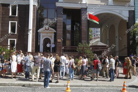 Belarusian citizens wait for their turn to participate in the Belarusian Presidential election outside the Embassy of Belarus. Belarusian citizens who live in Ukraine come to participate in voting for the next Belarusian President at a polling station located at the Embassy of Belarus in Kiev. Presidential elections in Belarus are held on August 9, 2020
