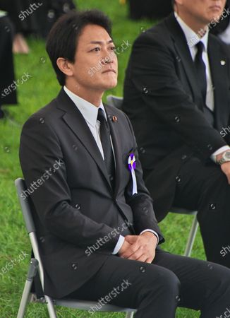 Leader of the Democratic Party for the People, Yuichiro Tamaki attends the ceremony of the 75th anniversary memorial service for atomic bomb victims at Hiroshima Peace Memorial Park in Hiroshima, Japan.