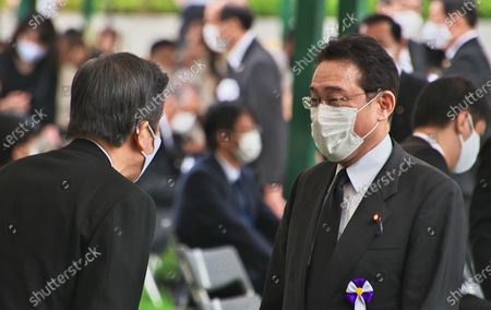 Chairman of Policy Research Council of Liberal Democratic Party, Fumio Kishida and Chief Representative of New Komeito, Natsuo Yamaguchi attend the ceremony of the 75th anniversary memorial service for atomic bomb victims at Hiroshima Peace Memorial Park in Hiroshima, Japan.