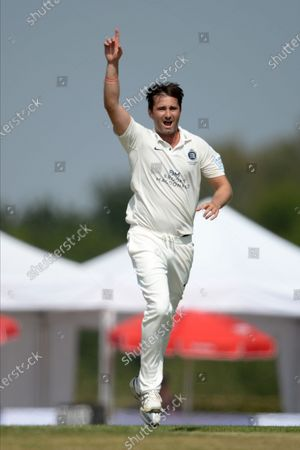 Tim Murtagh of Middlesex celebrates the wicket of Ryan Stevenson during the Bob Willis Trophy match between Middlesex County Cricket Club and Hampshire County Cricket Club at Radlett, Radlett