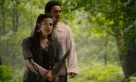 Katherine Langford as Nimue and Devon Terrell as Arthur