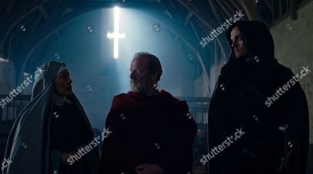 Caroline Lee-Johnson as Abbess Nora, Peter Mullan as Father Carden and Daniel Sharman as The Weeping Monk