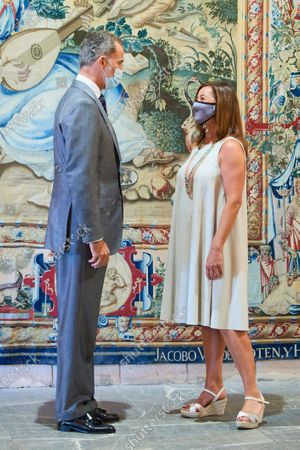 King Felipe VI of Spain attends an audience with Francina Armengol at La Almudaina Palace on August 10, 2020 in Palma, Balearic Islands, Spain