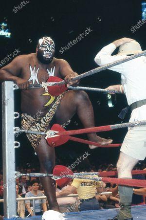 Editorial photo of Wrestler James Harris aka Kamala - 1980s