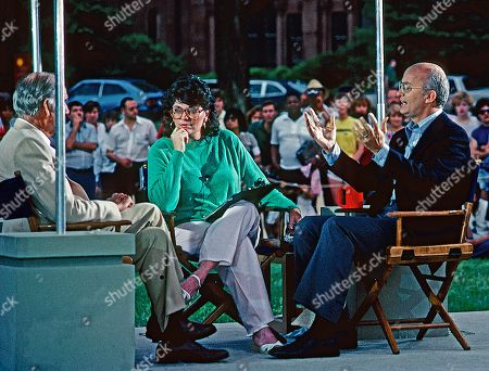 """Linda Ellerbee with Secretary of the Interior James Watt on the set of """"NBC Summer Sunday"""" on the mall in DC.  From 1980 through 1982, The Beach Boys and The Grass Roots separately performed at Independence Day concerts at the National Mall in Washington, D.C., attracting large crowds. In April 1983, Watt banned the concerts, on the grounds that the """"rock bands"""" that had performed on the Mall on Independence Day in 1981 and 1982 had encouraged drug use and alcoholism, and had attracted """"the wrong element"""", who would subsequently rob attendees of similar events"""