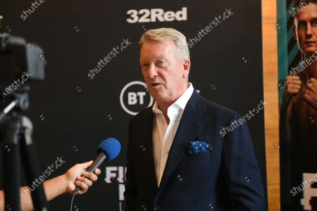Frank Warren speaks during a Press Conference at the Council Chamber, Bethnal Green on 10th August 2020