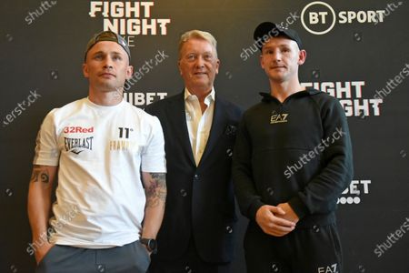 Carl Frampton (L), Frank Warren and Darren Traynor during a Press Conference at the Council Chamber, Bethnal Green on 10th August 2020