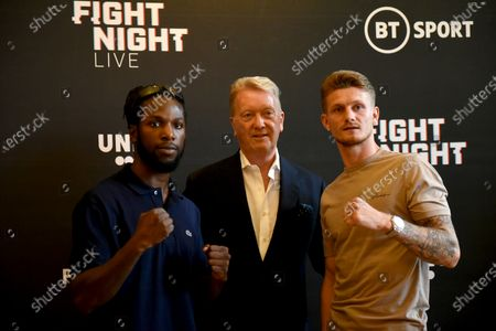 Jeff Ofori (L), Frank Warren and Archie Sharp during a Press Conference at the Council Chamber, Bethnal Green on 10th August 2020