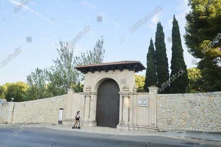 Stock Picture of Exterior of palace of Marivent main entrance in Palma de Mallorca on the Balearic Islands