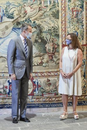 Stock Image of King Felipe VI during an audience with Balearic regional President, Francina Armengol, at Almudaina palace
