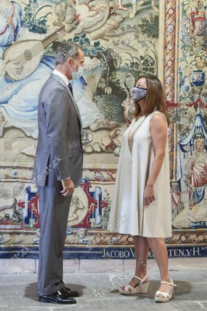 King Felipe VI during an audience with Balearic regional President, Francina Armengol, at Almudaina palace