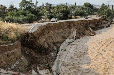 The collapsed road bridge by the village of Vassiliko, Euboea island