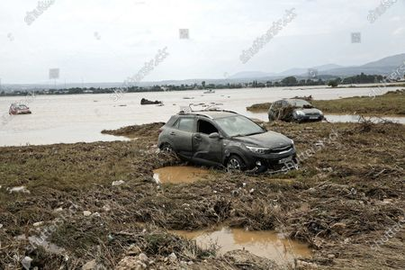 Aftermath of the severe flooding in the village of Bourtzi, Euboea island