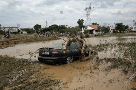 Stock Photo of Aftermath of the severe flooding in the village of Bourtzi, Euboea island
