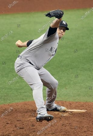 New York Yankees starter James Paxton pitches against the Tampa Bay Rays during a baseball game, in St. Petersburg, Fla