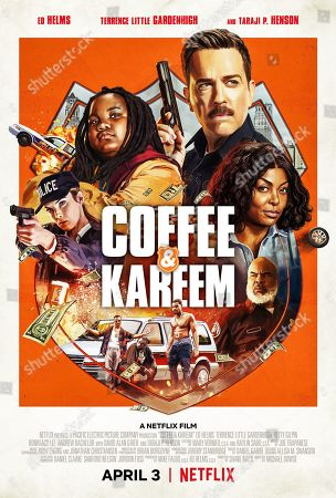 Coffee & Kareem (2020) Poster Art. Betty Gilpin as Detective Watts, Terrence Little Gardenhigh as Kareem, Ed Helms as Coffee, Taraji P. Henson as Vanessa Manning and David Alan Grier as Captain Hill