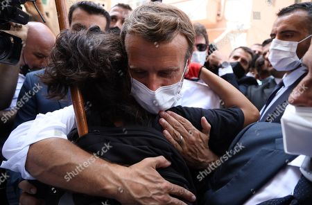 French President Emmanuel Macron visits the Port of Beirut. Macron arrived in Beirut on Thursday following Beirut's huge explosions which has killed at least 137 people and injured nearly 5,000.