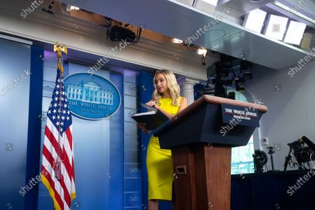 White House Press Secretary Kayleigh McEnany departs after speaking during a news conference in the James S. Brady Press Briefing Room at the White House in Washington D.C., U.S.. The U.S. reached 5 million confirmed Coronavirus cases on Sunday, a day after U.S. President Donald Trump took executive action to offer $400 per week in supplemental unemployment benefits.