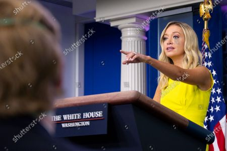 White House Press Secretary Kayleigh McEnany speaks during a news conference in the James S. Brady Press Briefing Room at the White House in Washington D.C., U.S.. The U.S. reached 5 million confirmed Coronavirus cases on Sunday, a day after U.S. President Donald Trump took executive action to offer $400 per week in supplemental unemployment benefits.