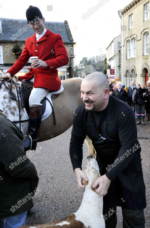 TV Chef Mat Follas provided the stirrup cup for the riders, Huntsman Charlie Watts was happy with his warming drink.