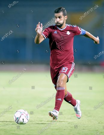 Pyramids FC player Abdallah El-Said in action during the Egyptian league soccer match between  Pyramids FC and Tanta at 30 June Stadium in Cairo, Egypt, 10 August 2020.