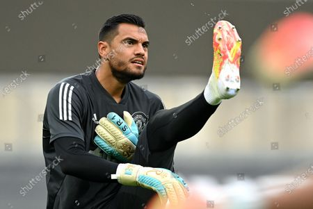Stock Photo of Manchester United's goalkeeper Sergio Romero warms up ahead of the UEFA Europa League quarter final soccer match between Manchester United and FC Copenhagen in Cologne, Germany, 10 August 2020.